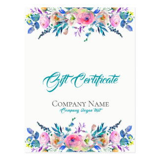 Colourful Flowers Bouquet Gift Certificate Postcard
