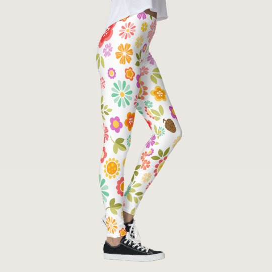 Colourful Flowers - Cute Floral Leggings