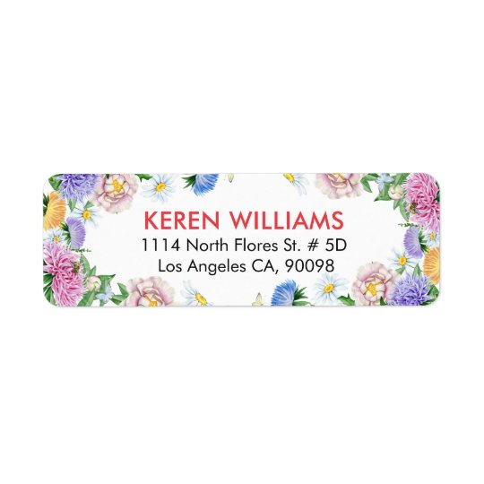 Colourful Flowers Frame Watercolors Return Address Label