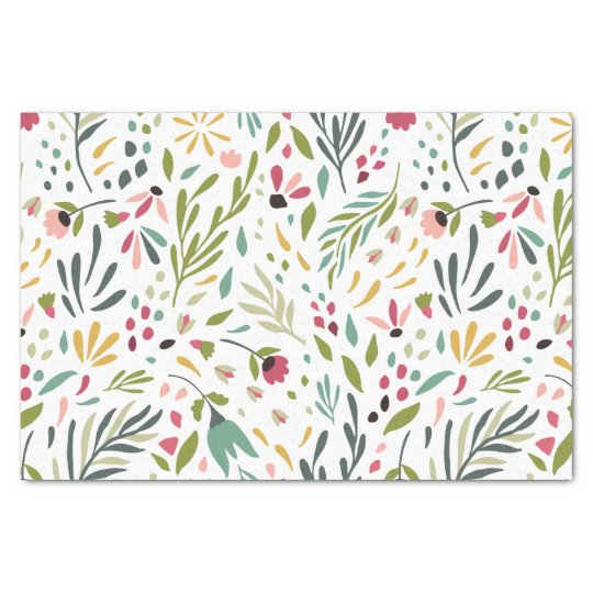 Colourful Flowers & Leafs Pattern Tissue Paper