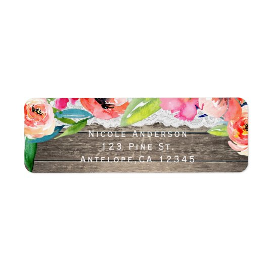 Colourful Flowers Modern Floral Chic Wood & Lace