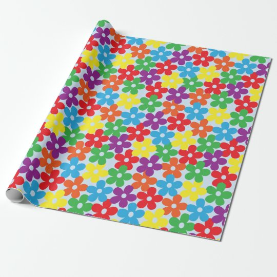 Colourful Flowers on Light Blue Wrapping Paper