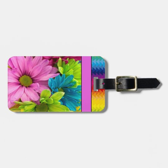 Colourful Flowers & Pattern Luggage Tag