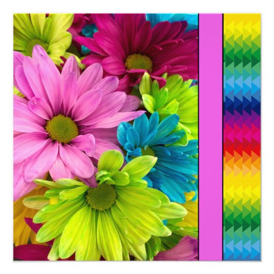 Colourful Flowers & Pattern Photo Print