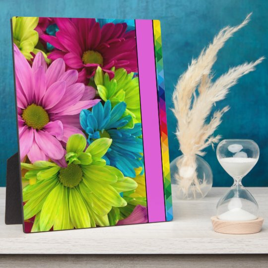Colourful Flowers & Pattern Plaque
