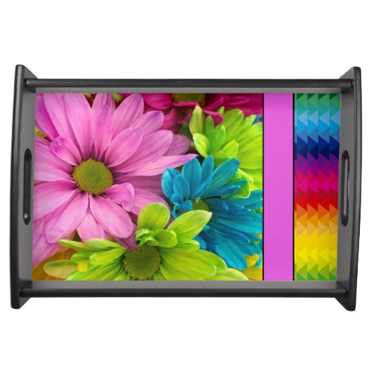 Colourful Flowers & Pattern Serving Tray