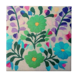 Colourful Flowers Pattern Tile