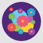 Colourful Flowers Round Stickers