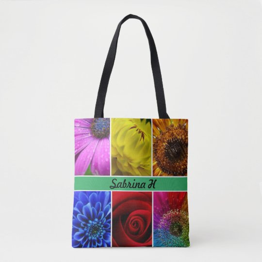Colourful Flowers Typography Tote Bag