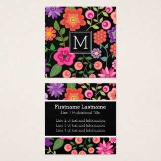 Colourful Flowers with Black Background Monogram Square Business Card