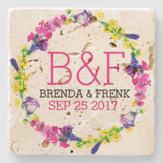 Colourful Flowers Wreath Wedding Text Template Stone Coaster