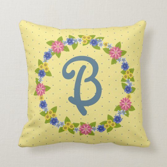 Colourful Flowers Wreath with Monogram Throw Pillow