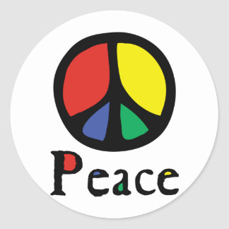 Colourful Flowing Peace Sign Classic Round Sticker