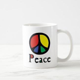 Colourful Flowing Peace Sign Basic White Mug