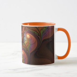 Colourful Fluorescent Abstract Modern Brown Mug