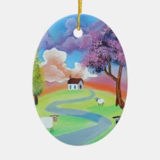 Colourful folk landscape picture of sheep ceramic oval ornament