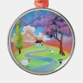 Colourful folk landscape picture of sheep Silver-Colored round ornament