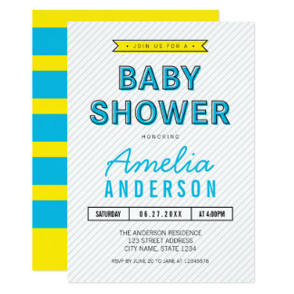 Colourful Fun Blue and Yellow Modern Baby Shower Card