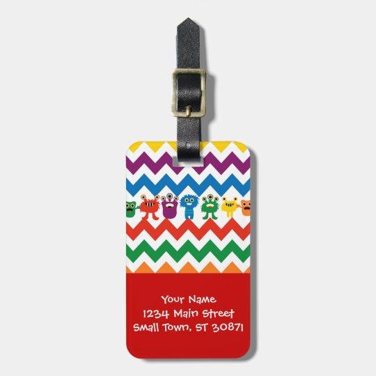 Colourful Fun Monsters Cute Chevron Striped Bag Tag
