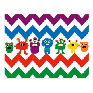 Colourful Fun Monsters Cute Chevron Striped Postcard