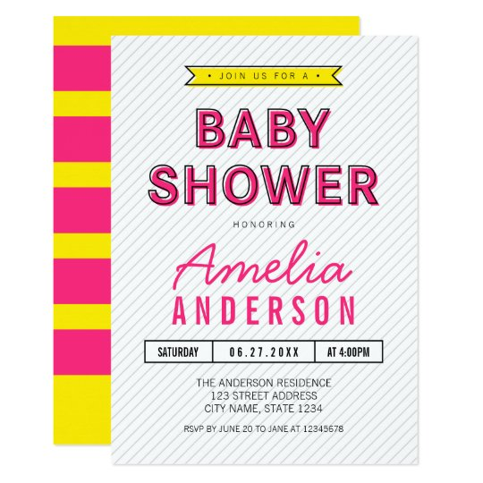 Colourful Fun Pink and Yellow Modern Baby Shower Card