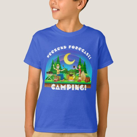 """Colourful Fun """"Weekend Forecast: Camping"""" T-Shirt"""