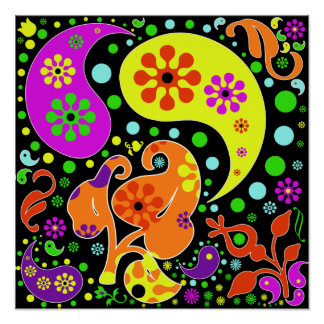 Colourful Funky Flowers Retro Paisley Hippie Poster