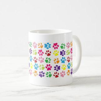 Colourful Funny Dog Cat Pawprints Coffee Mug