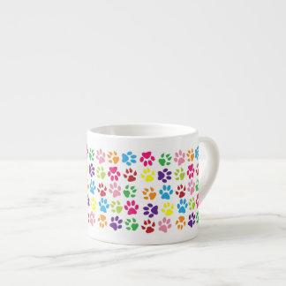 Colourful Funny Dog Cat Pawprints Espresso Mug