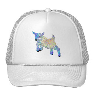 colourful funny goat jumping trucker hat