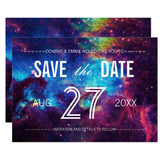 Colourful Galaxy Save the Date Card