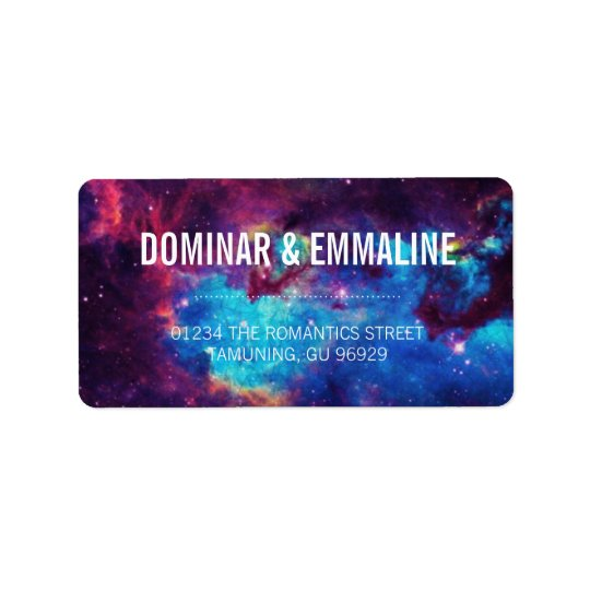 Colourful Galaxy Wedding Address Labels