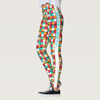 Colourful Geometric Block Permutation Pattern Leggings
