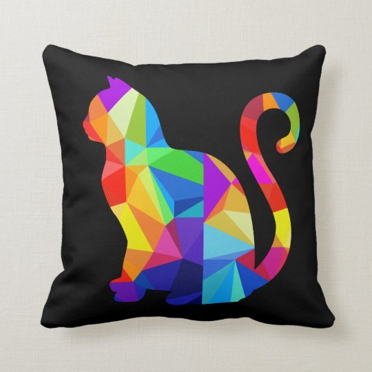 Colourful Geometric Cat Throw Pillow