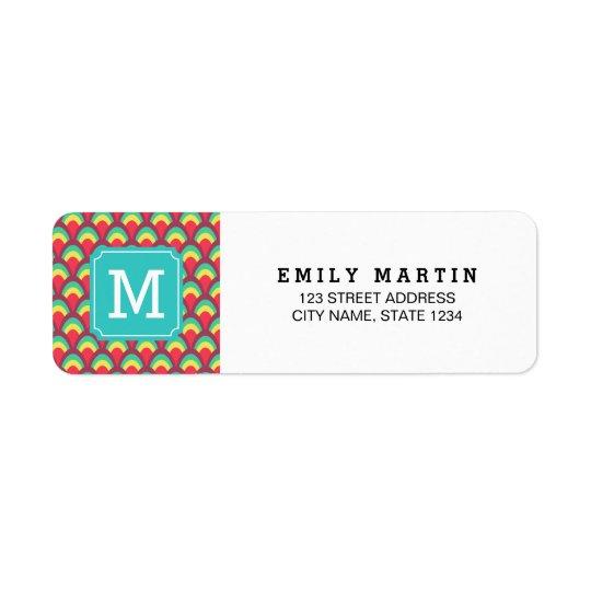 Colourful Geometric Monogram Address Label