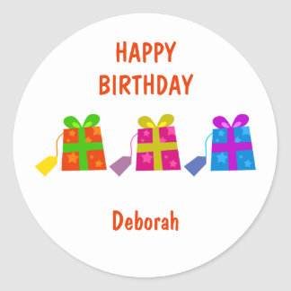 Colourful Gifts, HAPPYBIRTHDAY, Classic Round Sticker