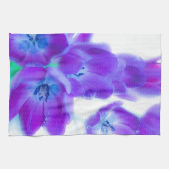 Colourful, girly, romantic, purple tulips kitchen towel
