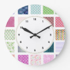 Colourful girly squares pattern wall clock