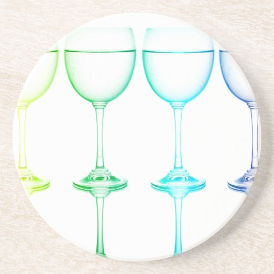Colourful glasses in front of white background coaster
