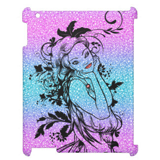 Colourful Glitter Floral Girl Illustration Case For The iPad 2 3 4