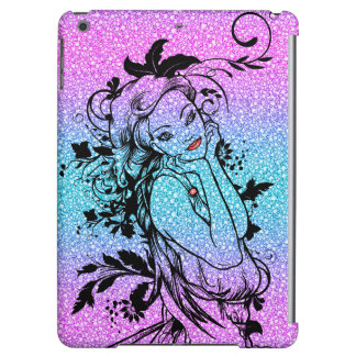 Colourful Glitter Floral Girl Illustration iPad Air Cases