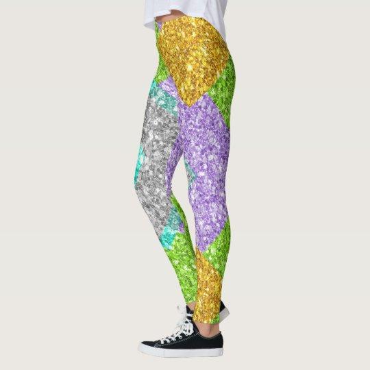 Colourful Glitter Geometric Patchwork Pattern Leggings