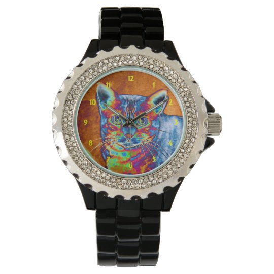 Colourful Glowing Bengal Cat Wrist Watch