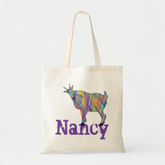 Colourful Goat Standing on Design Add Your Name Tote Bag