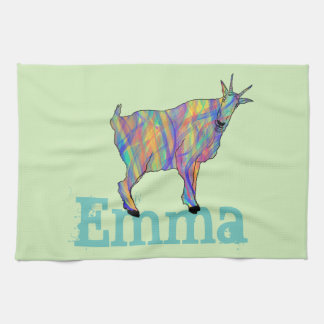 Colourful Goat Standing on Design with Your Name Kitchen Towel
