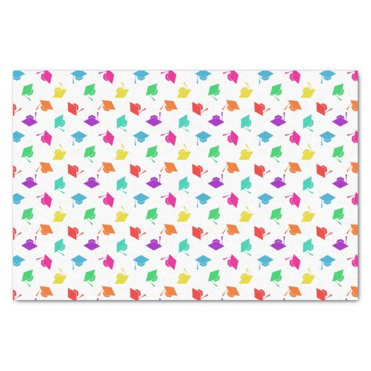 Colourful Graduation Cap Pattern Tissue Paper