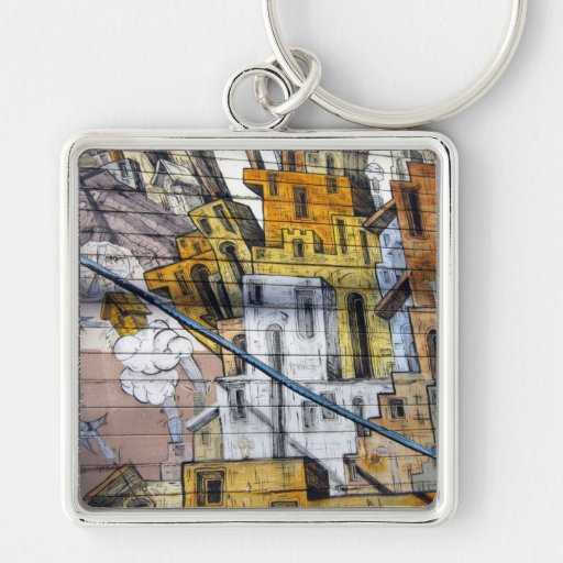 Colourful Graffiti House Design in San Francisco Keychains