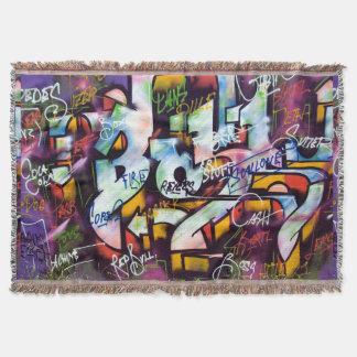 Colourful Graffiti Words Throw Blanket