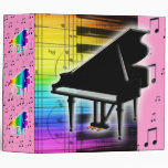 Colourful Grand Piano Keyboard and Music Notes Vinyl Binders