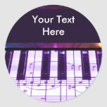 Colourful Grand Piano Keyboard and Music Notes Round Stickers